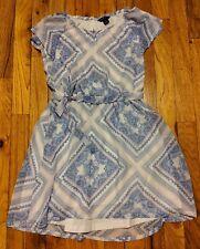 Euc Tommy Hilfiger Girls Blue & White Patterned Dress, Size 8