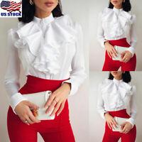 Women Victorian Ruffle Chiffon Shirt Ruffle Casual Long Sleeve Loose Top Blouse
