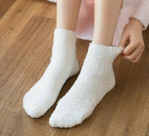 6 x Ladies Girls Winter Warm Soft Fluffy Bed Sock Slipper Fleece Socks Xmas Gift