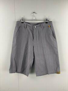 BadBoy Mens Grey Striped Slash Pockets Belt Loops Casual Outdoor Shorts Small