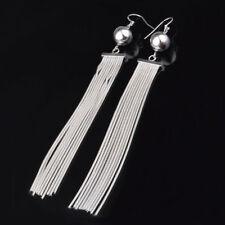Women Fashion Jewelry 925 Sterling Silver Plated Bead Long Tassel Dangle Earring