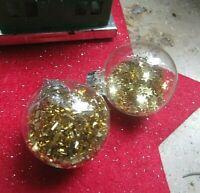 ★christbaumkugel weihnachtsohrringe glas goldene sternchen brisuren 3cm