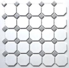 White and Gray Dot Octagon Porcelain Mosaic Floor Wall Backsplash Tile Kitchen