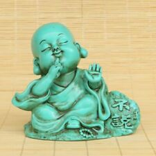 Chinese Exquisite Handcarved Natural Turquoise buddhist monk Statue 70021