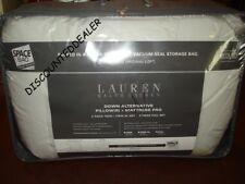 Ralph Lauren DOWN ALTERNATIVE FULL Mattress Pad & 2 Pillows Space bag Pack NEW