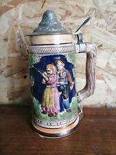 ANCIENNE chope à bière Allemande DÉCORÉ en grès collection BOISSON bar CHASSE