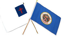 "12x18 12""x18"" Wholesale Combo Christ Christian State Minnesota Stick Flag"