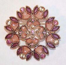 Brooch Pin - Flower - Cloisonne - Purple & Brown Rhinestones - Gold Tone