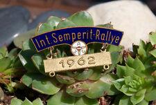 ALTE EMAILLE TEILNEHMER PLAKETTE / PIN # ACS INT. SEMPERIT RALLYE 1962 mercedes