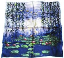 künstlerisches SEIDENTUCH Claude Monet SEEROSEN Tuch Halstuch SEIDE 86x86