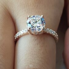 2.75 Carat Diamond Engagement Ring Round Cut 14K Rose Gold D VVS1
