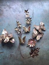 3 vintage BUTTERFLIES n FLOWERS brass metal WALLHANGINGS sconce + 1 MAPLE LEAF
