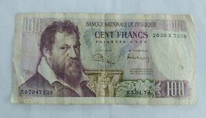 Money Old Paper Belgium 100 francs de 1974 banknote banque 1940 banknotes 2 Be