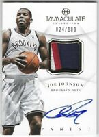 2012-14 Panini Immaculate Collection Joe Johnson Jersey Patch On Card Auto #/100