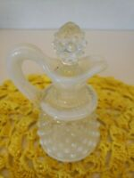 VTG FENTON Hobnail Perfume Bottle Cruet Pitcher Original Stopper. Wht Opalescent