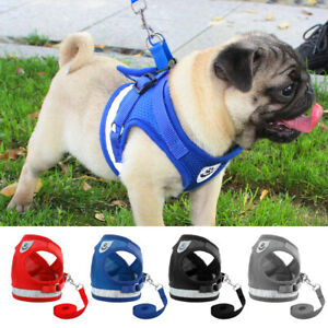 Small Dog Pet Harness Reflective Vest Mesh + Walking Lead Leash Strap XS-M-L-XL