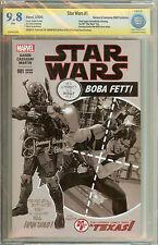 Star Wars Boba Fett #1 Heroes & Fantasies B&W Variant Signed CBCS CGC 9.8 Jeremy