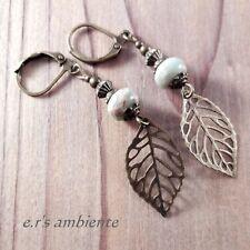 Ohrringe mit JASPIS-Perlen, Bronze-Vintage-Look, Ohrhänger, 0463