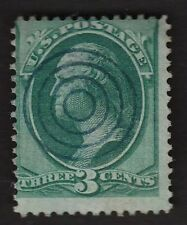US BOLD FANCY CANCEL 3c Bank Note Socked On Nose SON Blue Target A5