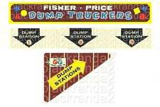 VINTAGE FISHER PRICE LITTLE PEOPLE 979 DUMP TRUCKERS REPLACEMENT LITHOS STICKERS