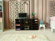 Miniature chest of drawer, dollhouse TV table buffet furniture 1/6 scale. Wood