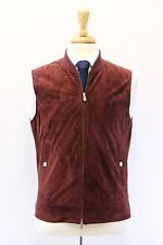 NWT$3575 Brunello Cucinelli Men's 100% Leather Suede Vest W/Logo Hardware M A176