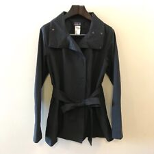 Patagonia Larissa Womens Trench Coat Black Snap Button Belted Collared Large