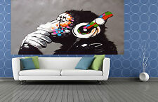 8ft x 5ft MASSIVE CUSTOM MADE  Banksy style Street Art Print DJ MONKEY  by pepe