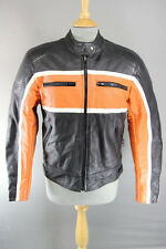 JTS BLACK, ORANGE & WHITE LEATHER BIKER JACKET WITH REMOVABLE CE ARMOUR SIZE 10