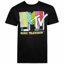 Mtv Music Television T-Shirt Black Mens Rock Pop Hip Hop Retro Tv Show Tee Mens
