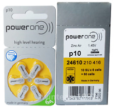 60 PowerOne Hearing Aid Batteries Size P10 Fresh Expires 2022 FREE Battery Caddy