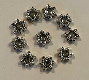 Silver Double Strand Star Sliders Black Diamond Swarovski Crystals 10 Pieces