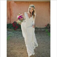 Boho Backless Lace Appliques Wedding Dress White/Ivory Beach Bridal Gown Custom