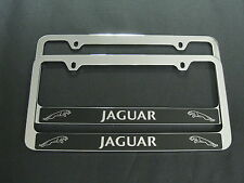 2 JAGUAR HALO STAINLESS STEEL Chrome License Plate Frame + Screw Caps