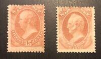 US Official Stamps Scott#O90 O91  Unused 1 OG H & 1 RG H