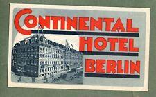 Rare Hotel luggage label Kofferaufkleber Germany Continental Berlin #829