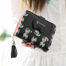 Cute Cat Women Short Wallet Leather Lady Small Coin Card Holder Money Purse US