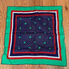 Vintage FISBA STOFFELS Swiss Scarf Green Red Blue Geometric Silk Dots