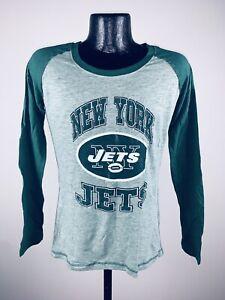 Women's NFL Football New York Jets Green Melange OT Queen Long Sleeve Tee NWT L
