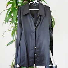 Theory Black Silk Long Sleeve V-Neck Button Down Blouse sz s