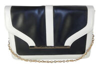 Atmosphere Classic Black Flap Monochrome Handbag with White Trim & Chain Strap