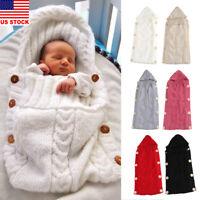 Newborn Baby Hooded Swaddle Wrap Warm Knit Swaddling Blanket Sleeping Bag New