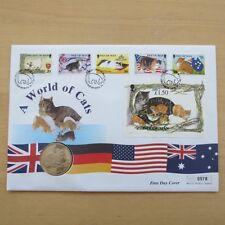 1996 A WORLD OF CATS 1 COPERTURA CORONA MONETA Isola di Man-Primo giorno di copertura