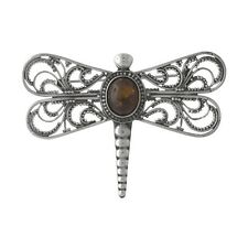 Brand New Sterling 925 Silver Handwrought Filigree & Cognac Amber Dragonfly Pin