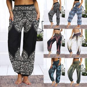 Womens Ladies Harem Trousers Yoga Boho. Hippy Pants Dance Baggy Thai Loose