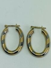 9CT YELLOW AND WHITE GOLD CREOLE STYLE HOOP EARRINGS