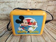 More details for vintage 1980's mickey & donald lunch box with strap aladdin