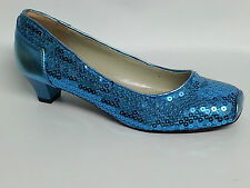 Women's Ladies Low Heel Sequin Shoes - Pink Gold Silver Black Blue Sizes UK 3-8
