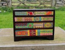 Hand Painted 5 Drawer Mini Chest of Drawers,Fair Trade,Mango Wood, Made in India