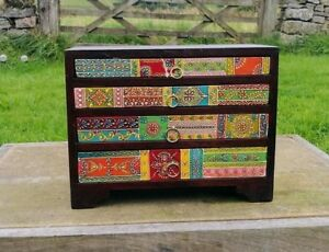 Hand Painted 4 Drawer Mini Chest of Drawers,Fair Trade,Mango Wood, Made in India